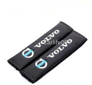 2PCS Carbon Fiber Car Seat Belt Cover Pad Shoulder Cushion fit for Volvo