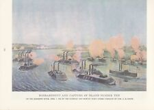 "1974 Vintage Currier /& Ives CIVIL WAR /""US NAVAL TRIUMPH vs REBELS/"" COLOR Litho"