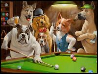 "Dogs Billiards  Metal Sign 9"" x 12"""