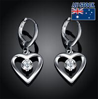 Wholesale 925 Sterling Silver Filled Heart Drop Earrings With SWAROVSKI Crystal