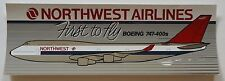 "Northwest Airlines 1989 Bumper Sticker 3-1/4x10""  - First 747-400"