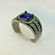 Men's Size 9 12mm Wide Black Rhodium Plated Deep Blue Cubic Zirconia Ring