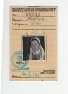 NORWAY: Identity card issued by the Police 1941. Scarce.