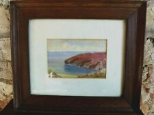 Vintage Antique Old Framed British Watercolour Painting Isle of Man Spanish Head