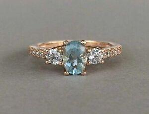 2Ct Oval Cut Blue Aquamarine Three Stone Engagement Ring 14k Rose Gold Finish