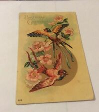 Vintage Paper Ephemera, Postcard 1910, Birthday Greetings, Birds