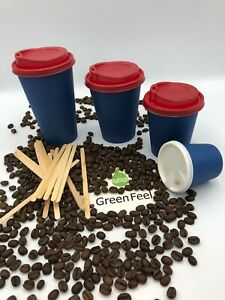 NAVY BLUE PAPER CUPS 500 x 12oz Disposable Coffee Cold Hot Drinks & RED Lids