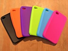 SET OF 6 COLOURED SOFT SILICONE RUBBER GEL CASES COVERS SKINS - APPLE iPHONE 4