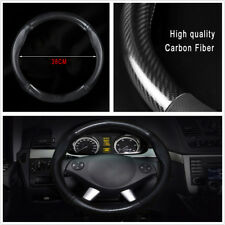"38cm 15"" Non-Slip Carbon Fiber Stitching Leather Car Steering Wheel Cover Black"