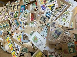 KILOWARE - Malaysia stamps Assortment  about 500 pieces on paper , Post FREE