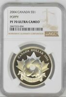 2004 CANADA $1 - THE POPPY - ARMISTICE - NGC PF70 UC /w BOX & COA - SILVER COIN