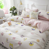 Anime Sailor Moon Cotton Pink Bed Sheet Quilt Duvet Cover Pillowcase Home Decor