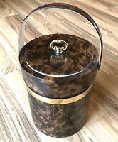 Vintage MCM Georges Briard Wood Grain Brown Padded Vinyl Ice Bucket USA