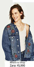 BNWT ZARA embroidered roses denim jacket