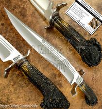 IMPACT CUTLERY RARE CUSTOM D2 FULLER ART BOWIE KNIFE CROWN ANTLER HANDLE