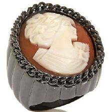 AMEDEO NYC Incatenata 25 MM Cameo Bold Oval Ribbed Ring Gun Metal Tone Size 8