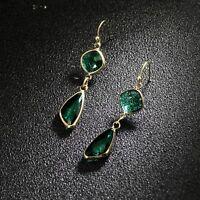 Boucles d'oreilles Art Deco Diamentine Goutte Cristal Vert Facetee Retro DD12