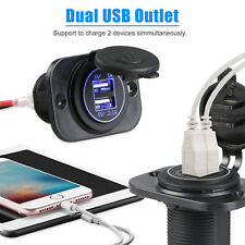 3.1A Waterproof Dual USB Port Charger Socket Outlet 12V LED for Motorcycle Car