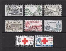 1953 Queen Elizabeth II SG145 - SG150 Short Set and Red Cross Set Used GIBRALTAR