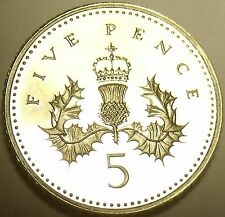 Cameo Proof Great Britain 2001 5-Pence~We Have Great Britain Proof Coins~Free Sh