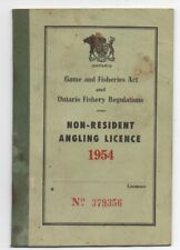 1954 Ontario Canada Non Resident Angling License with Regulations