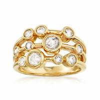 1.00 ct. t.w. Bezel-Set Diamond Multi-Row Ring in 14kt Yellow Gold