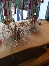 Crystal chandelier light shade x 2 earthen, very twinkly when up, need good clea