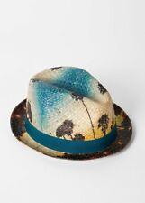 AUTHENTIC PAUL SMITH Blue Stone Palm Tree Print Panama Straw Hat SIZE S £105