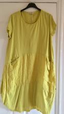 New Italian Lagenlook Cap Sleeve JERSEY Cotton 2 Pockets Linen Panel Tunic Dress
