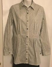 CAbi Blouse White Pinstripe Button Down Cotton Blend Size Small #974
