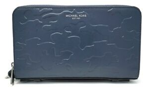 Michael Kors Men's Navy Leather Money Bag Double Zip Travel Organizer Wallet