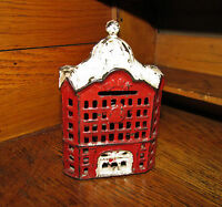 Antique Vtg AC Williams Dime Store Cast Iron Red Domed Building Still Penny Bank