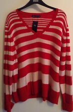 BNWT M&S COLLECTION LADIES V NECK JUMPER, RED SIZE 24, WOOL RICH
