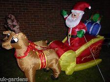 Inflable Papá Noel Y Reno Trineo Con Luces Led 180cm largo Santa