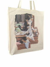 Cat Feline Calico Group Natural Cotton Shopping Bag Long Handles Perfect Gift