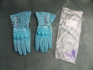 New Icon Tuscadero Blue Leather Women's Motorcycle Gloves Size Large