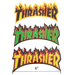 Thrasher Magazine Skateboard Sticker Flame Logo Decal Mag Skate And Destroy Goat