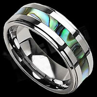 Silver Tungsten Carbide Abalone Shell Inlay Wedding Band Bridal Womens MENS Ring