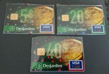 1996 $5, $20 & $50 - VISA CASH CARD SET - DESJARDINS BANK - CANADA - RARE - MINT