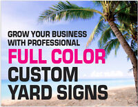 10 Pro Quality FULL COLOR Custom Coroplast YARD SIGNS 24x18 Printed 2 Sides +Stk