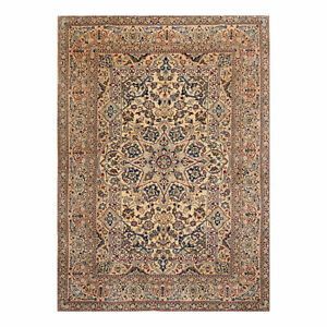 6'8'' x 9'3'' Hand Knotted Wool & Silk Nain 200 KPSI Oriental Area Rug Ivory