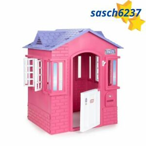 Cape Cottage House, Pink - Pretend Playhouse with Door for Kids 2-8 Years Old
