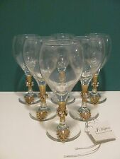 HAND DECORATED WINE OR CHAMPAGNE GLASSES------SET OF 6
