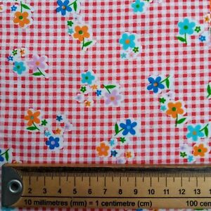 RED WHITE GINGHAM FLORAL FABRIC REMNANT 50 cms x 112cms  POLY COTTON PATCHWORK