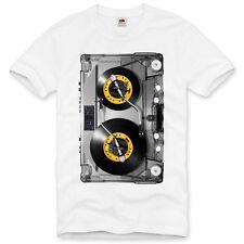 DJ Tape T-Shirt fotodruck mc musik disco 80er 90er retro kassette turn table Fun
