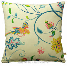 Sanderson Ranee Designer Fabric Floral Blue Pink Floral Cushion Pillow Cover