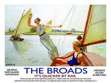 Die Broads,Norfolk,Yachten Segelboot See Fluss Zug,Mittleres Metall/Zinn-zeichen