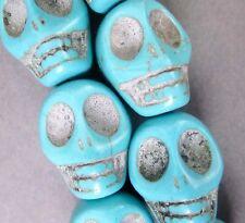 10Pcs Blue Howlite Turquoise Skull Beads Finding---18mmx14mm