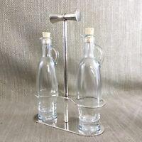 Christofle Versilbert Öl & Essig Flasche Stand Halter Gewürze Set