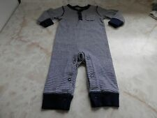 NB Baby Boy Carter's Blue White Striped w/ Pocket Footless Snap Summer Sleeper